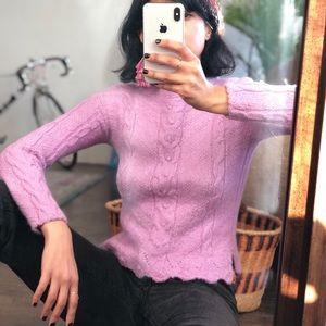 100% baby alpaca lavender sweater xs all